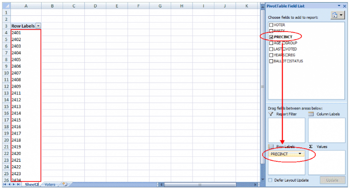 pivot table trong excel 2010